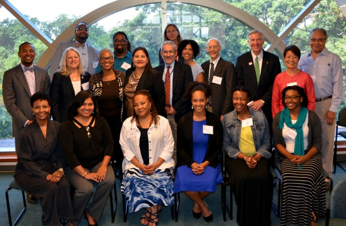 School representatives and panelists from the National Health Equity Research Webcast gather for a group photo.