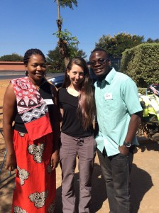 Hillary with two trainers, Gloria and John, at the Nathenje training. Photo courtesy of Hillary Murphy
