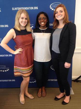 Ashley Jones, Randi Towns and Emily Cerciello (class of 2015) presented their project at the Clinton Global Initiative University.