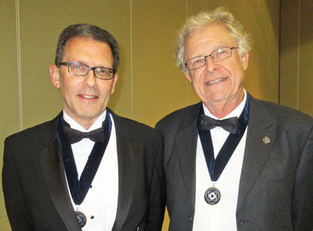 Drs. Hans Paerl (right) and Larry Band pose after receiving the AGU's medals of recognition.