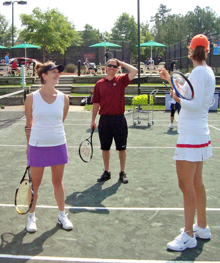 Christin Daniels (left) takes a break on the court with Lindsay Davenport, former World #1 player (on right).