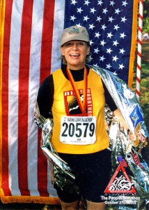 Penny Slade-Sawyer ran in the 2002 Marine Corps Marathon in Washington, D.C., to benefit AIDS research.