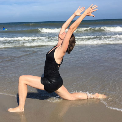 Dr. Alison Stuebe proves she can do yoga anywhere.
