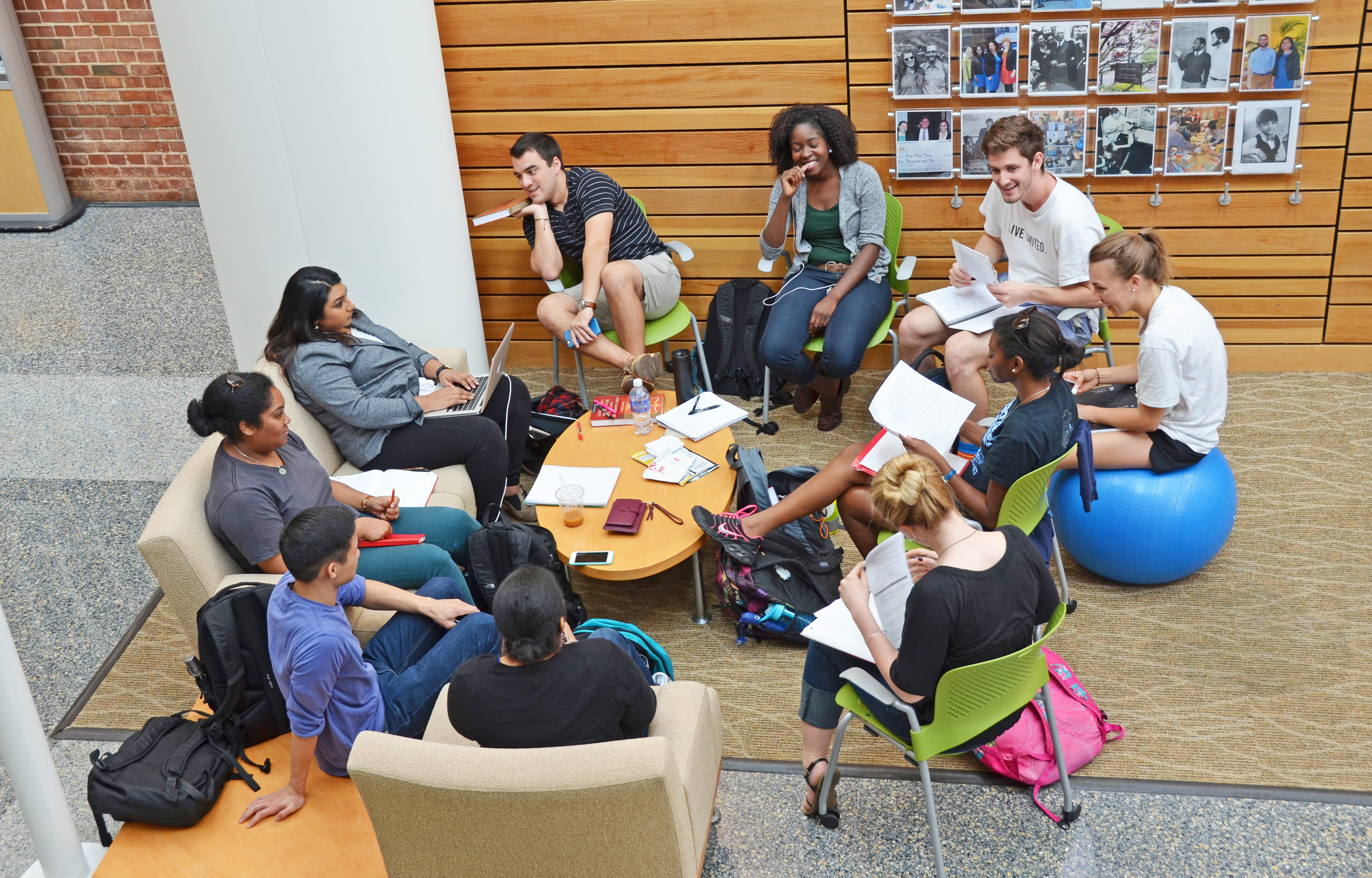 A study group enjoys a laugh in Armfield Atrium.