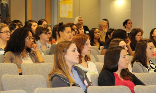 Prospective students listen to the dean's address during the 2016 'Experience Gillings' School tour.