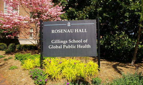 The sign at the entrance of Rosenau Hall welcomes visitors to the Gillings School.