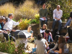 Dr. Steve Marshall conducts class outside on a beautiful autumn day.