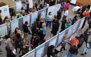Guests fill Armfield Atrium to speak with students presenting original research.