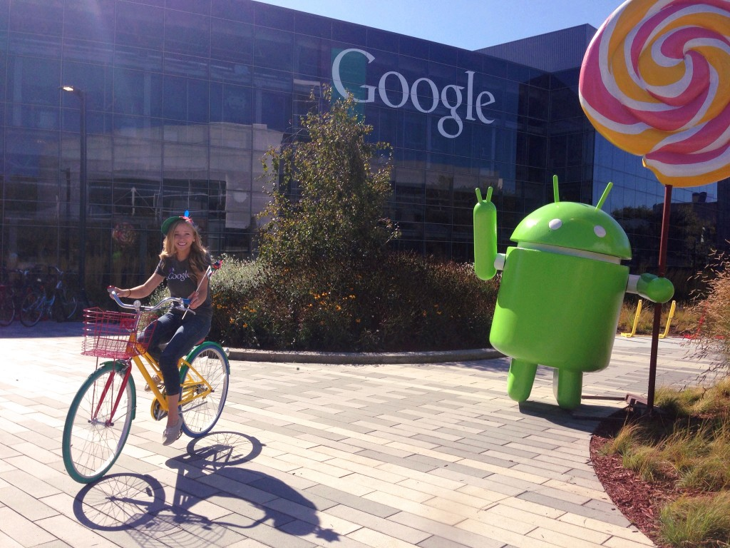 Girl bikes at Google headquarters