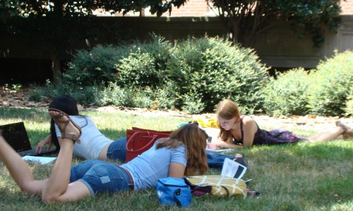 Students get some studying done on a grassy knoll outside UNC Gillings.