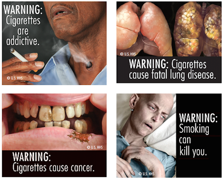 Pictures on cigarette packs, warning of smoking dangers ...