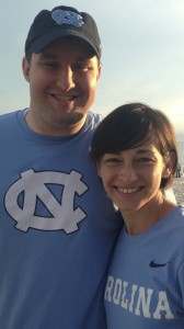 Byron and his wife show off their Tar Heel pride.