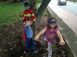 Byron's children (l-r) Seth, Lucas and Lydia show off their superhero abilities.