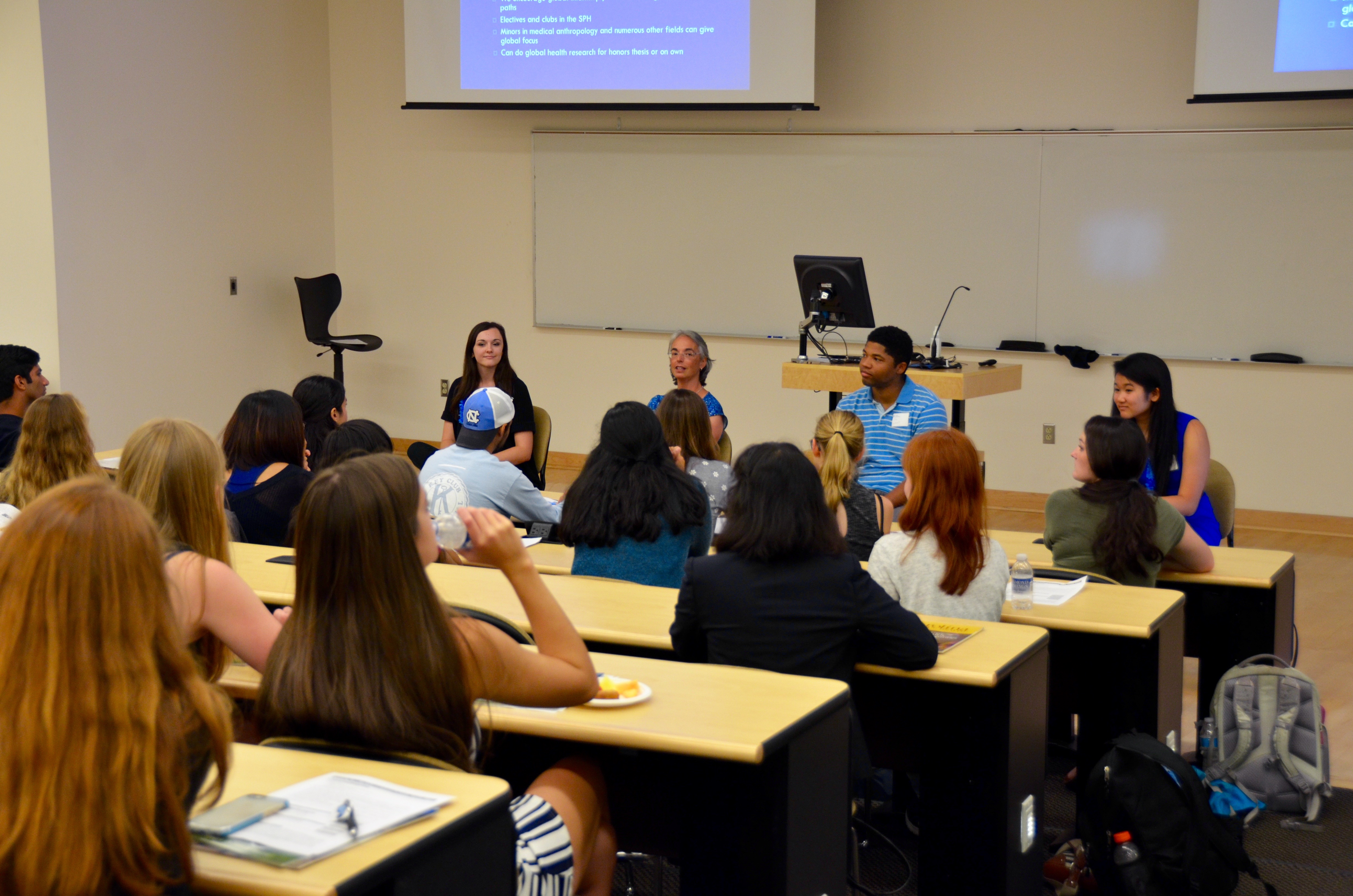 A panel of health policy and management students and faculty members answers questions from prospective students.