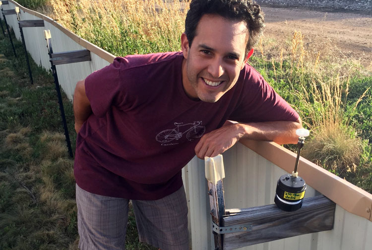 Dr. Will Vizuete prepares to take air samples in Boulder, Colorado. Photo by Chitsan Wang.