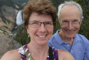 Jayne and her husband relish their hike to a viewpoint overlooking Yellowstone Gorge Falls.