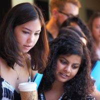These students grabbed a coffee during orientation in August 2016.