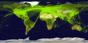 Average 100,000 commercial flights daily in the world. Photo courtesy: http://openflights.org/demo/openflights-routedb-2048.png.
