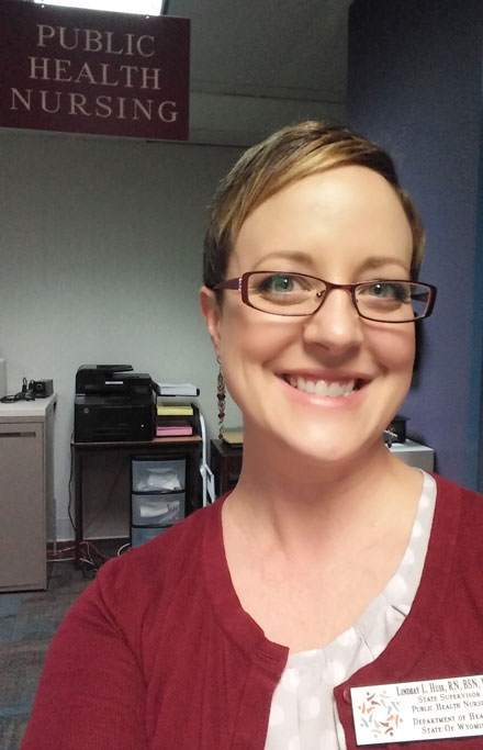Lindsay Huse in her new position as Wyoming State Public Health Nursing Supervisor.