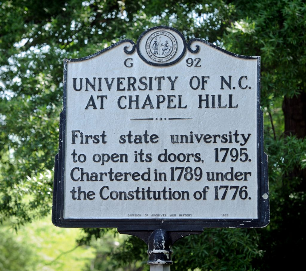 This State Historical marker is located at McCorkle Place.