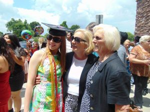 Cathy Padgett celebrates with her daughter and mother on her daughter's graduation day.