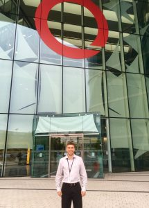 Abram Graham poses outside the Quintiles building in Reading, England.
