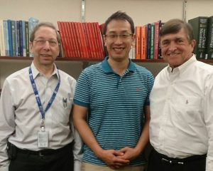 Dr. Kanamori poses with his mentors at the UNC School of Medicine — Dr. David Weber and Dr. Bill Rutala.