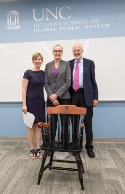 Alice Ammerman awarded with Mildred Kaufman Distinguished Professorship in Nutrition. Also pictured are Barry Popkin, PhD and Beth Mayer-Davis, PhD.
