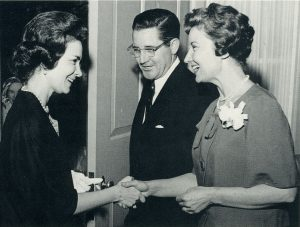 Ida Friday (right) and UNC President Bill Friday (center) greet Leila Morgan, a relative of Dr. Lucy Morgan's, at the dedication of Rosenau Hall in 1963.