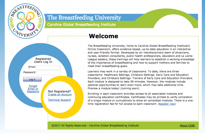 A screenshot of the Breastfeeding University homepage, a training resource offered by CGBI.