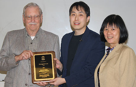 Left to right are Dr. James Grizzle, Dr. Seunggeun Lee and Dr. Jianwen Cai. Dr. Lee was recipient of the biostatistics department's 2017 James E. Grizzle Distinguished Alumnus Award. Dr. Cai is Cary C. Boshamer Distinguished Professor and interim chair of biostatistics.