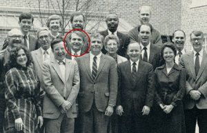 Dr. Jim Sorenson, circled in red, joined other members of Dean Michel Ibrahim's cabinet for a 1990 photo.