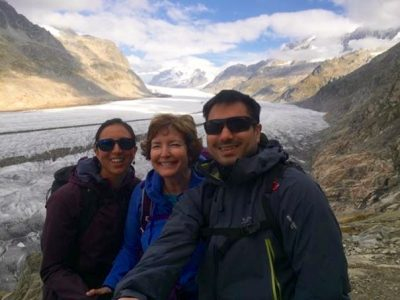 Alia, Cindy and Tarik (L-R) take in the view of Switzerland's Aletsch Glacier. (Contributed photo)