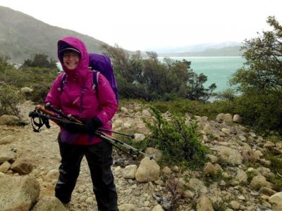 Cindy takes a quick break during a backpacking trip in Patagonia. (Contributed photo)