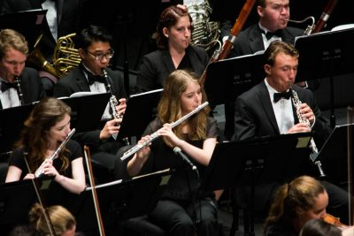 Katherine (center) performs with the UNC Symphony Orchestra.