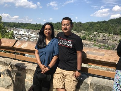 Zunaid takes in the view with his wife, Rashida, during a recent road trip to Great Falls, Virginia. (The couple met in college; they've been married for 15 years.)
