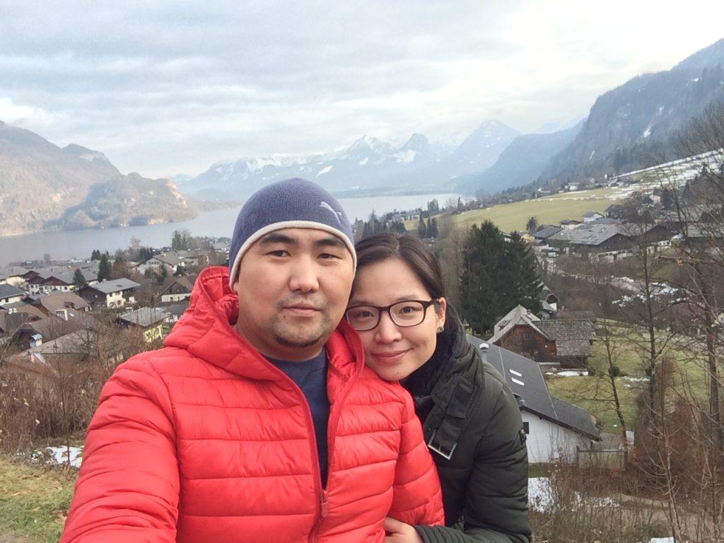 Munguu enjoys a vacation with her husband, Uuganbayar Erkhembayar, at Sankt Gilgen Lake in Salzburg, Austria.