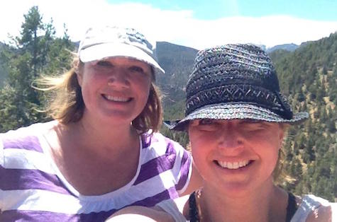 Katie (left) and her sister Karen pause for a selfie during a hiking and biking vacation in Colorado.
