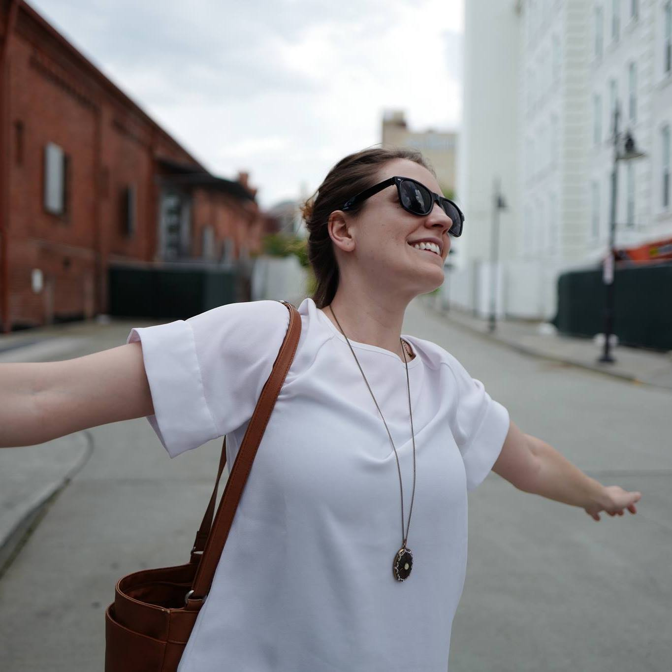 Michelle enjoys some amazing weather in downtown Durham.