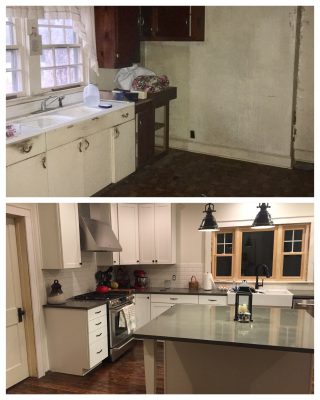 The work done is apparent is before-and-after shots of the kitchen (which Rachel says is still far from finished).