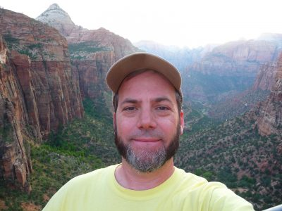 Tom enjoys the view from the Canyon Overlook Trail in Utah's Zion National Park.