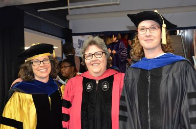 Dr. Laura Linnan (center) presented outstanding teaching and mentoring awards to Dr. Marisa Domino (left) and Dr. Stephanie Engel.