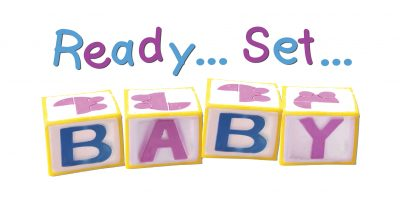 Ready set push! Labour socks white w/pink writing.
