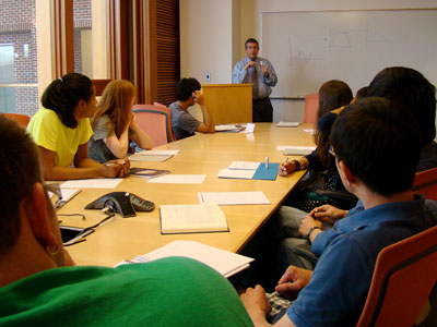 Dr. Michael Kosorok, W.R. Kenan Jr. Distinguished Professor, works with students on a bioinformatics exercise.