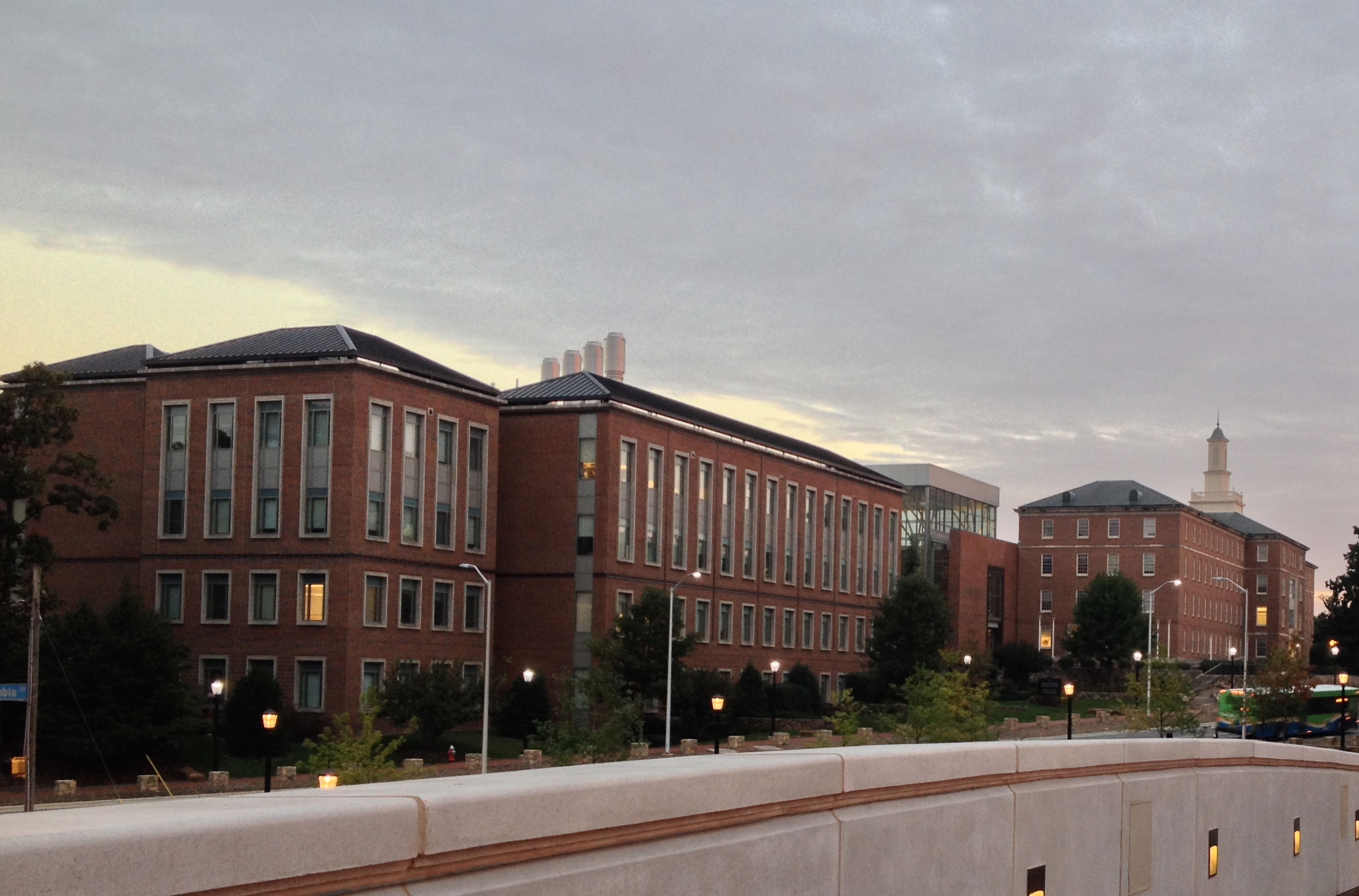 The Gillings School pictured after sunset.