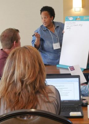 Students engage in a brainstorming session during Principles and Practices of Public Helath Nursing in Fall of 2019