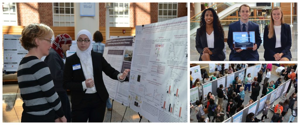 A collage of photos showing students presenting their posters at conferences and holding awards they have won.