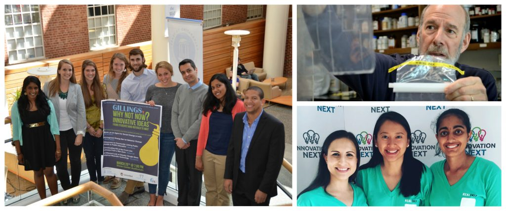 A collage of photos showing students and faculty at events celebrating innovation.
