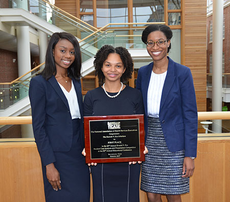 (L-R) Oluoma Chukwu, Lauren Jordan and Jessica Broadus won first prize in the 2017 NAHSE case competition.