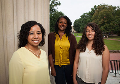 Left to right are Maria Duran, Gillings School student Leslie Adams and Jennifer Rangel, all the first in their families to attend graduate school. Photo by York Wilson.